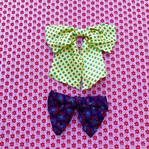 Bundle of two vintage clip on bow ties unisex